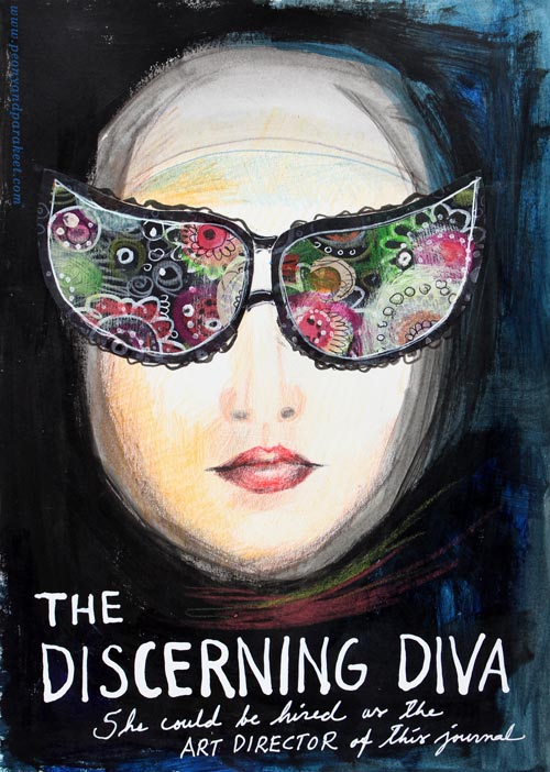 The Discerning Diva - an art journal page by Peony and Parakeet. See how to get ideas from movie posters!