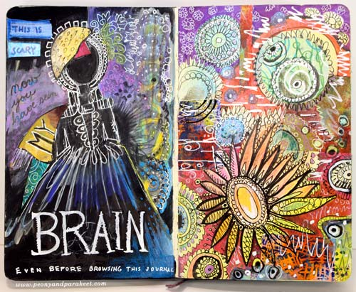An art journal page spread by Peony and Parakeet. See how to get ideas from movie posters!