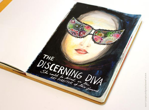 The Discerning Diva - an art journal page by Peony and Parakeet. See instructions on how to make your own diva!