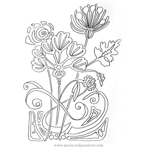 Art Nouveau drawing by Peony and Parakeet, see the video showing how it is made!