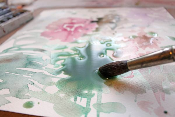 Creating of a mixed media painting by Peony and parakeet