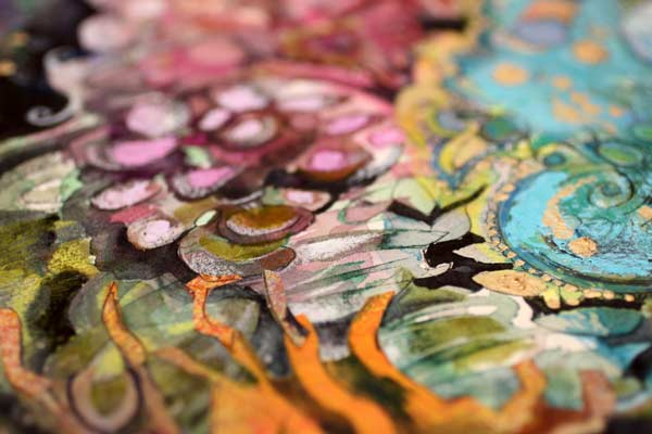Rococo, a detail of a mixed media painting by Peony and Parakeet