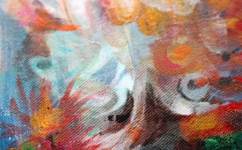 A detail of an unfinished painting, by Peony and Parakeet