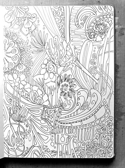 Art Journal page ready for coloring by Peony and Parakeet