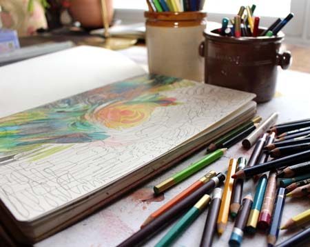 Intuitive drawing with colored pencils by Peony and Parakeet