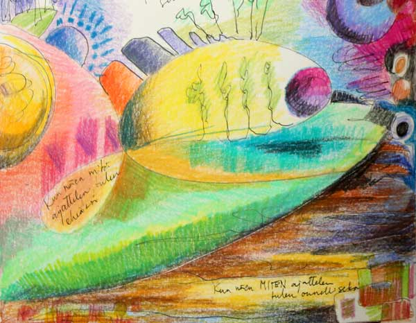 A detail of an art journal page by Peony and Parakeet