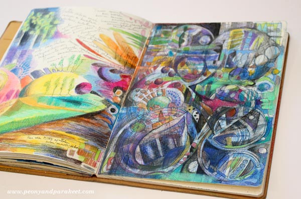 What I Think and How I Think, an art journal page spread by Peony and Parakeet