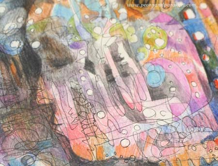 """I am listening"", a detail of an art journal page by Peony and Parakeet"