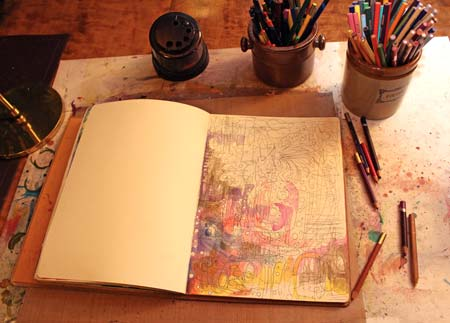 Creating a drawing on an art journal, by Peony and Parakeet