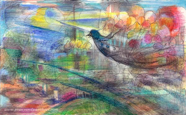 Flying with Balloons, an art journal page by Peony and Parakeet