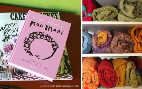 Marie Kondo, Konmari, decluttering book, sweaters on a shelf