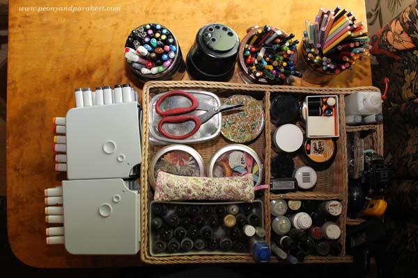 Art supplies organized with Konmari method