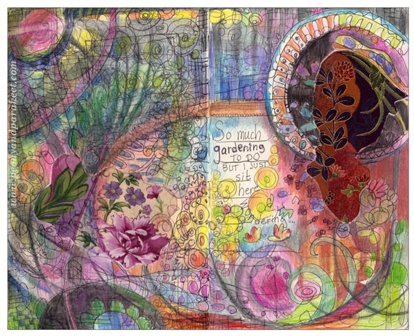 So Much Gardening to Do, an art journal page that uses fabric pieces. A fabric collage by Peony and Parakeet