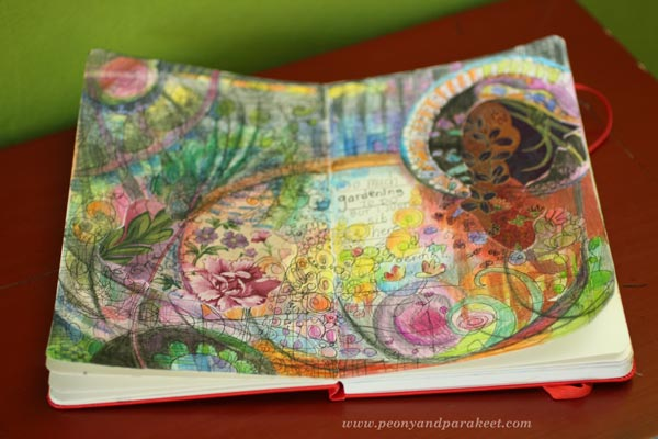 Using Fabric Pieces on Art Journal Pages, by Peony and Parakeet