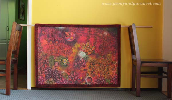Art Quilt using digitally printed design, by Peony and Parakeet
