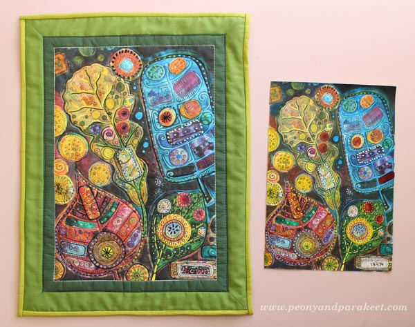 Original paper artwork and a fabric quilt made from it, by Peony and Parakeet