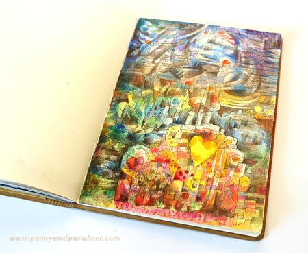 Home sofa, an art journal page by Peony and Parakeet