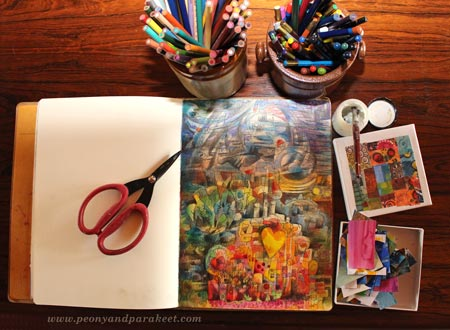 Making of an art journal page by Peony and Parakeet
