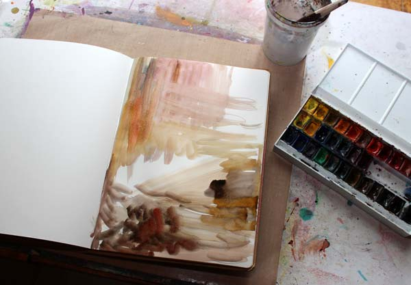 Creating of an art journal page by Peony and Parakeet