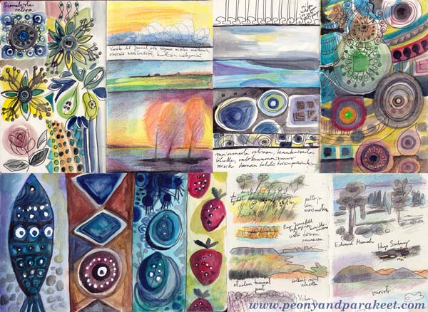 Sketchbook pages by Peony and Parakeet