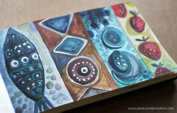 An art journal page by Peony and Parakeet