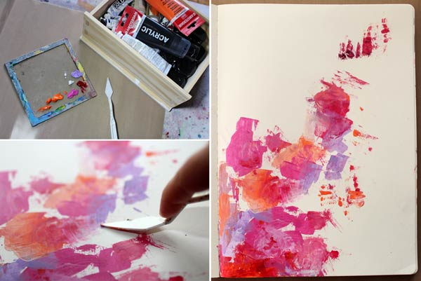 Adding acrylic paint with a pallette knife