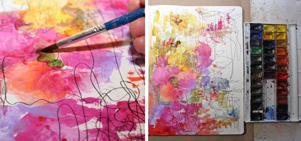 Painting with watercolors near acrylic paint spots. Finding a natural approach to creating art.