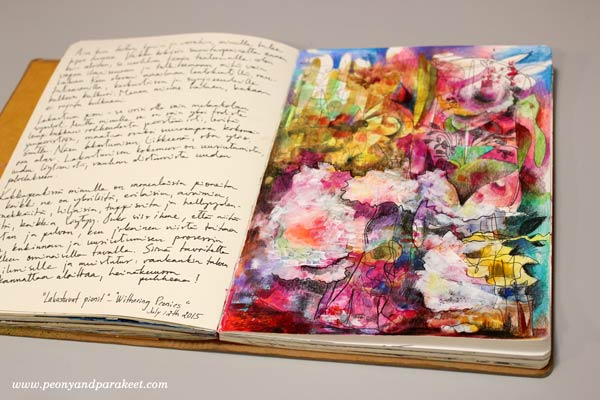 Withering Peonies, an art journal page by Peony and Parakeet
