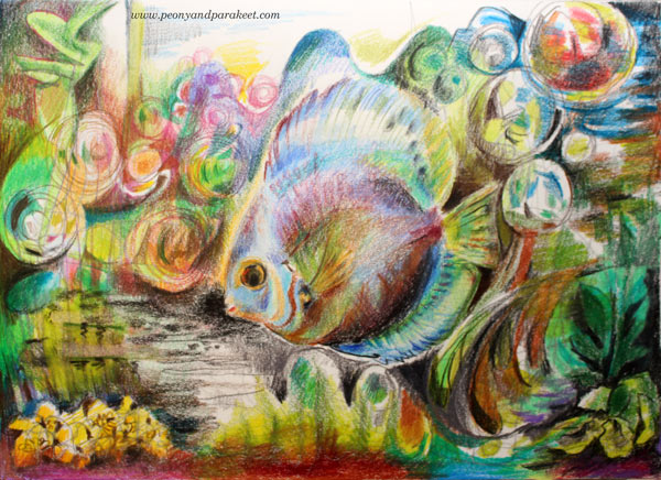 Discus Fish, an art journal page with colored pencils by Peony and Parakeet. Combining realistic drawing and drawing from imagination.