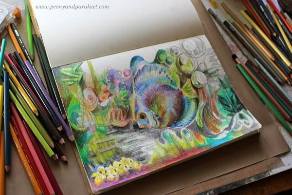 Coloring of an art journal page with colored pencils by Peony and Parakeet