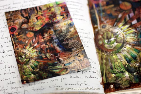 Introvert, an art journal page and a postcard, by Peony and Parakeet