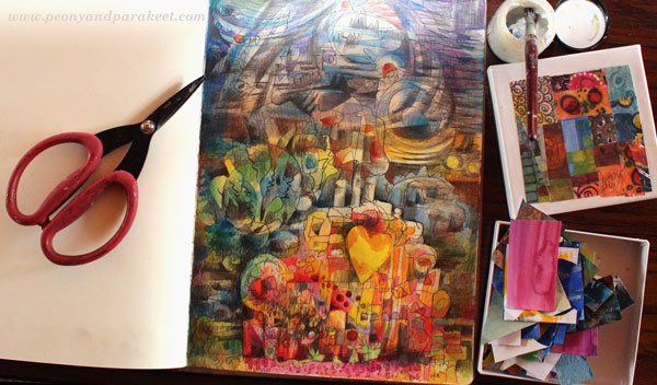 Creating of an art journaling page, by Peony and Parakeet