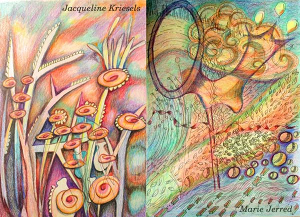 Jacqueline Kriesels and Marie Jerred, student artwork created at the class Inspirational Drawing