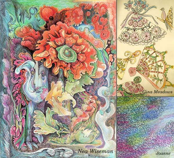 Nea Wiseman, Gina Meadows and Joanne, student artwork created at the class Inspirational Drawing