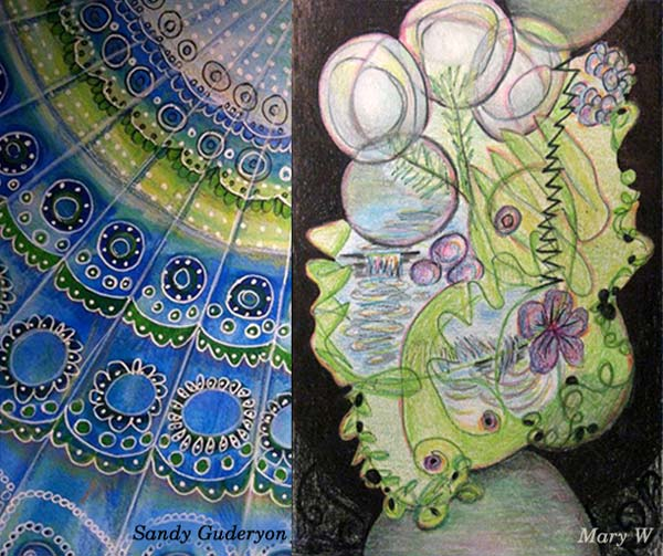 Sandy Guderyon and Mary W, student artwork created at the class Inspirational Drawing