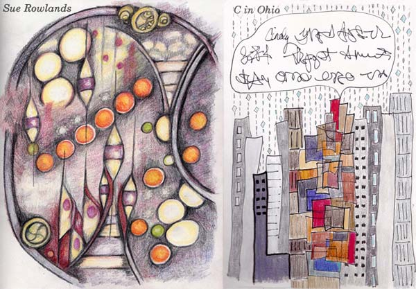 Sue Rowlands and C in Ohio, student artwork created at the class Inspirational Drawing