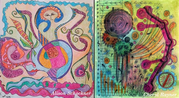 Alison Schockner and Cheryl Rayner, student artwork created at the class Inspirational Drawing