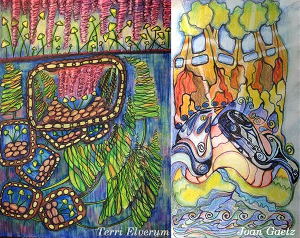 Terri Elverum and Joan Gaetz, student artwork created at the class Inspirational Drawing