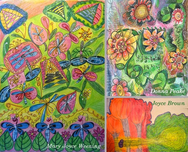 Mary Joyce Weening, Donna Peake and Joyce Brown, student artwork created at the class Inspirational Drawing