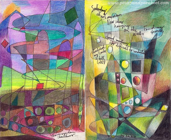 2 art journal pages created with the same idea, by Peony and Parakeet