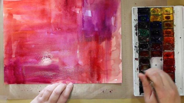 Painting a background with watercolors