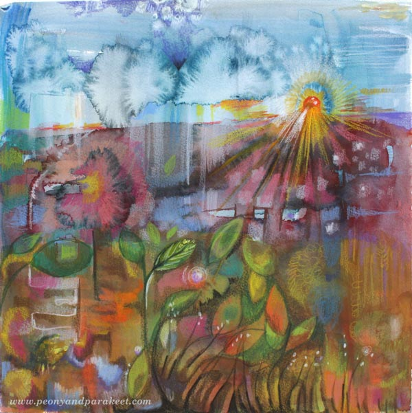 http://Soil, Sun and Rain, a mixed media painting by Peony and Parakeet