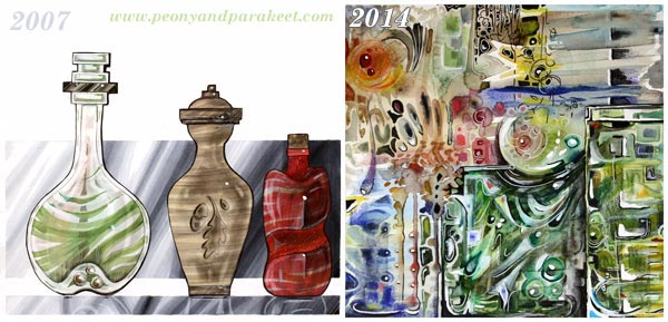 Glass inspired art, by Peony and Parakeet