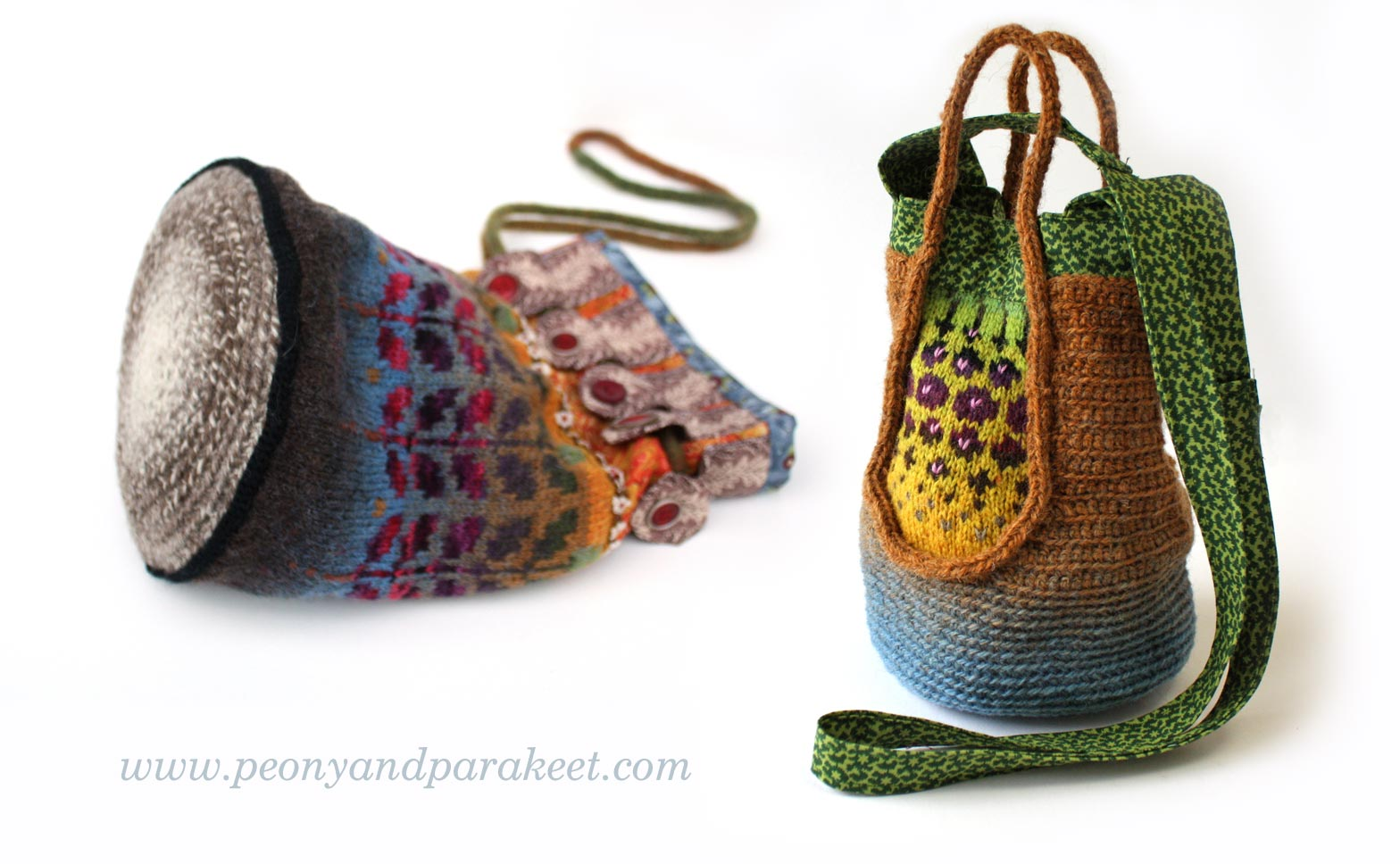Knitted bags by Peony and Parakeet