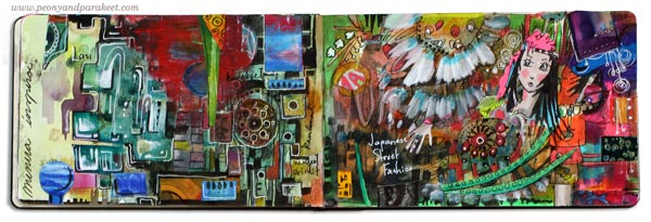 Art journaling inspiration by Peony and Parakeet