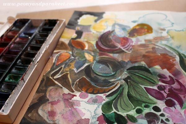 Creating a mixed media painting by Peony and Parakeet
