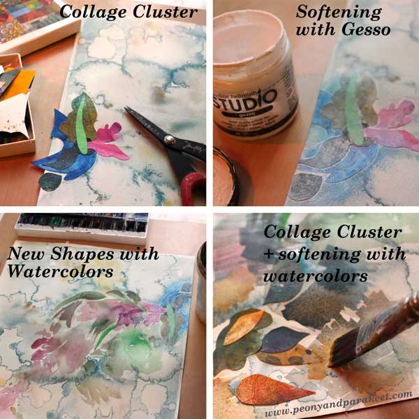 Creating a mixed media painting without sketching by Peony and Parakeet