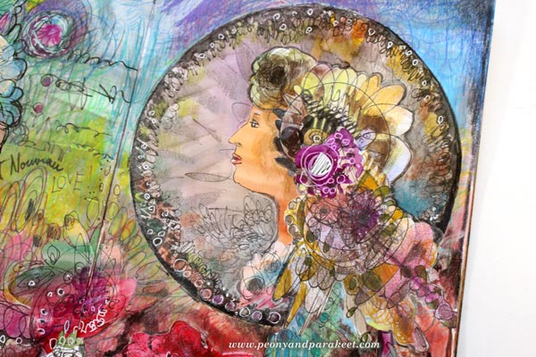 A detail of the work made in Imagine Monthly, an art journaling class, by Peony and Parakeet