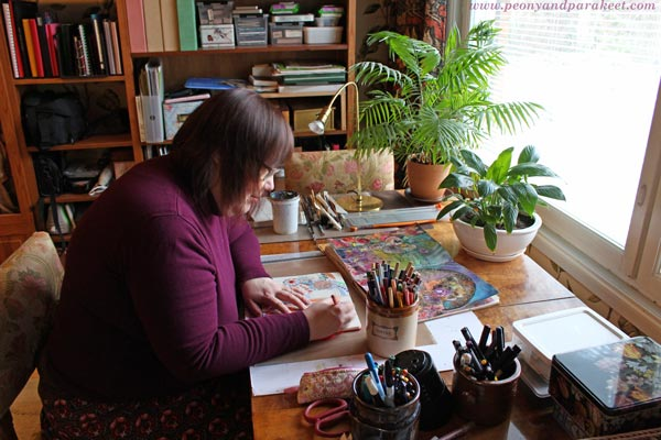 Paivi from Peony and Parakeet and her creative space