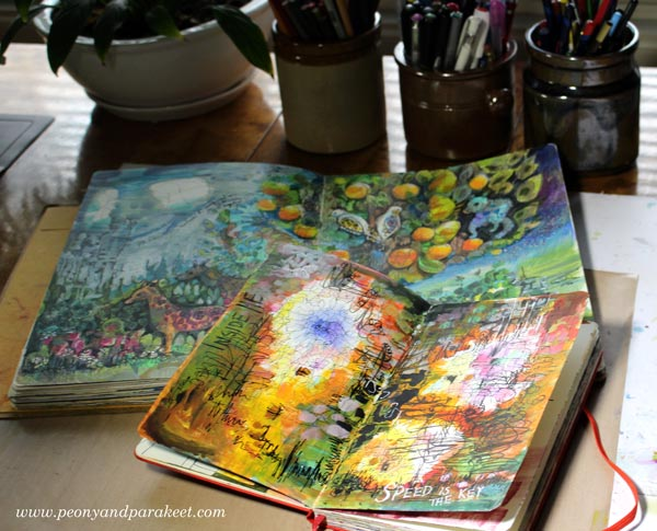 Combining acrylic paints with colored pencils in art journaling, by Peony and Parakeet